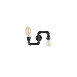 Lampada da parete Applique Ideal Lux Plumber AP2 NERO 136691