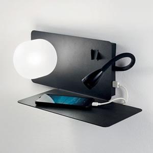 Lampada da parete Applique Ideal Lux Book-1 AP2 NERO 174808