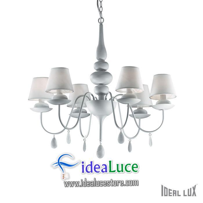 lampadario sospensione ideal lux blanche sp6 bianco 035581