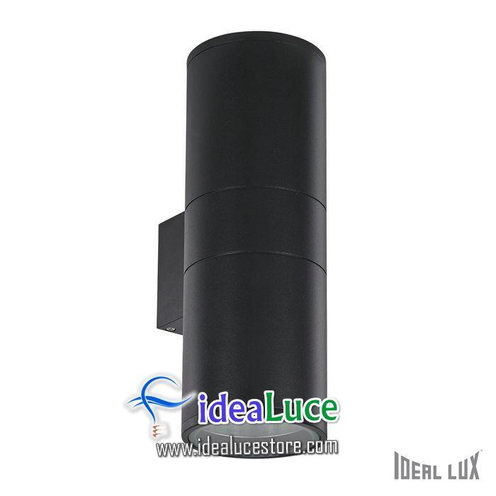 Lampada da esterno Applique Ideal Lux Gun AP2 BIG NERO 092317