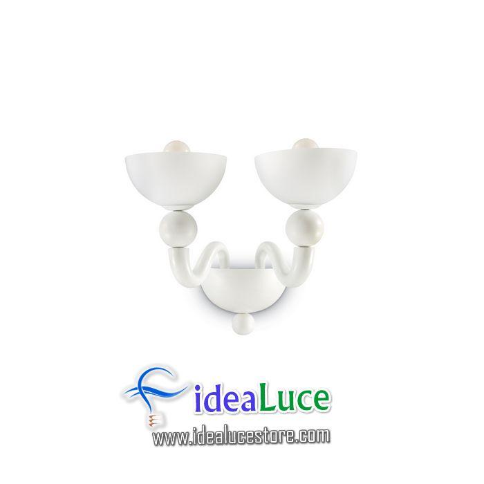 lampada da parete applique ideal lux bon bon ap2 bianco 093987