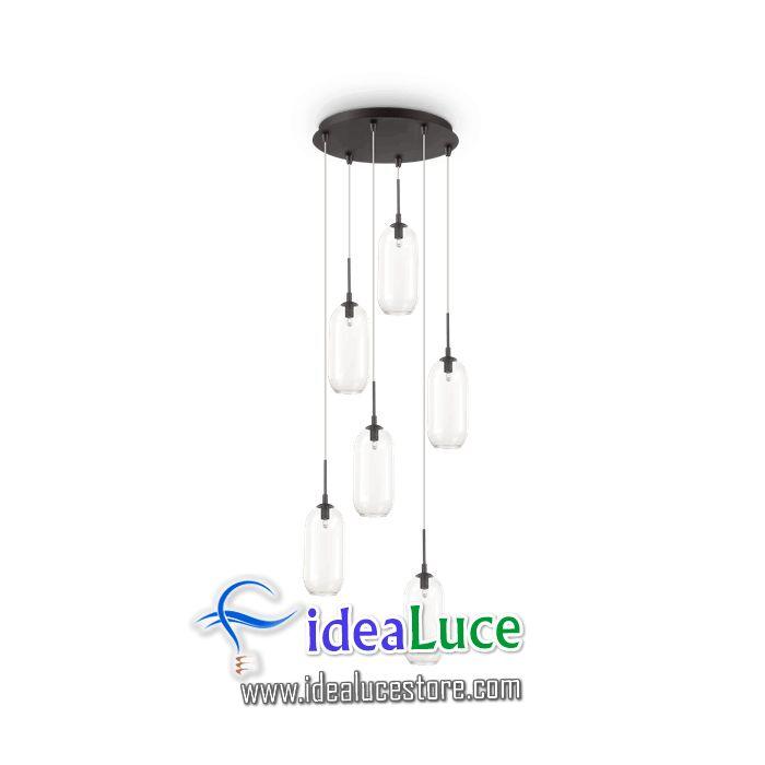 lampadario sospensione ideal lux yoga sp6 nero 173023