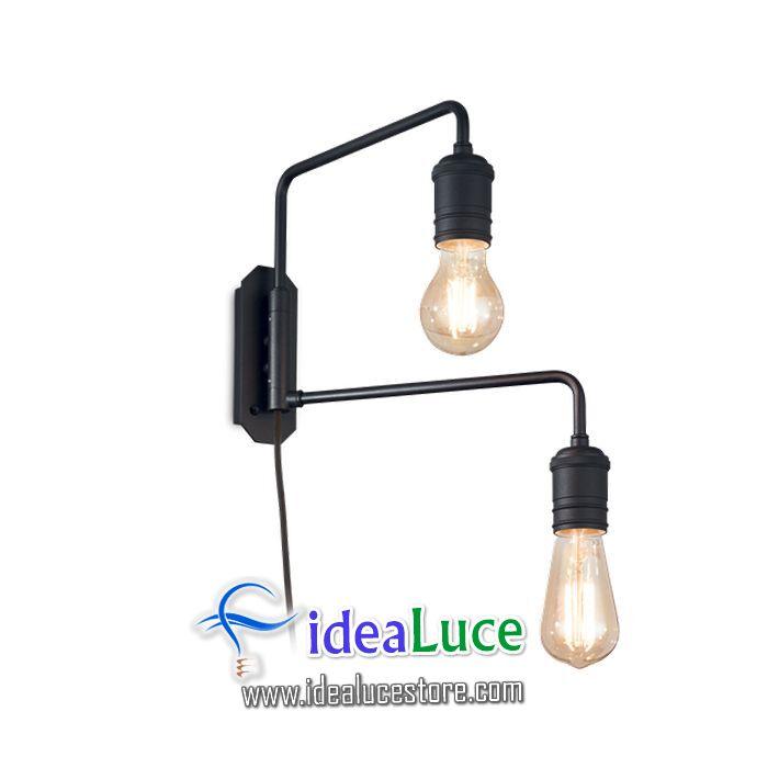Lampada da parete Applique Ideal Lux Triumph Ap2 Nero 242385