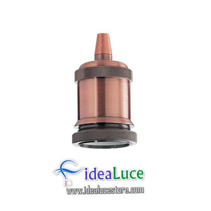Portalampada E27 Ghiera Rame Brunito Ideal Lux 249223