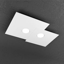 Plafoniera Top Light Plate Led Bianca 1129/PL2 R BI
