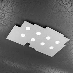 Plafoniera Top Light Plate Led Grigia 1129/PL8 R GR