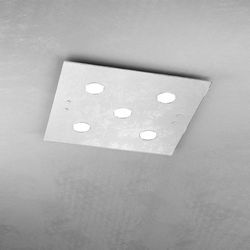 Plafoniera Top Light Path Led Foglia Argento 1141/PL5 FA