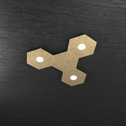 Plafoniera Top Light Hexagon Led Foglia Oro 1142/3L1D FO