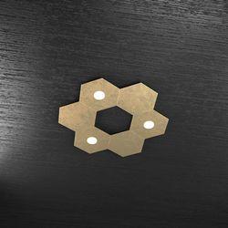 Plafoniera Top Light Hexagon Led Foglia Oro 1142/3L3D FO A2