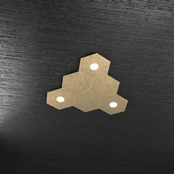 Plafoniera Top Light Hexagon Led Foglia Oro 1142/3L3D FO A3