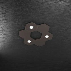 Plafoniera Top Light Hexagon Led Marrone 1142/3L3D MA A2