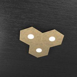 Plafoniera Top Light Hexagon Led Foglia Oro 1142/3L FO A3