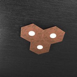 Plafoniera Top Light Hexagon Led Foglia Rame 1142/3L FR A3