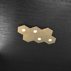 Plafoniera Top Light Hexagon Led Foglia Oro 1142/4L2D FO A1