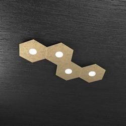 Plafoniera Top Light Hexagon Led Foglia Oro 1142/4L FO A2