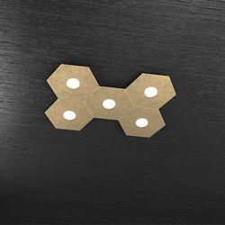Plafoniera Top Light Hexagon Led Foglia Oro 1142/5L FO A3