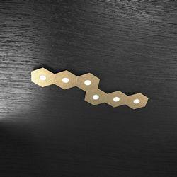 Plafoniera Top Light Hexagon Led Foglia Oro 1142/6L FO A8