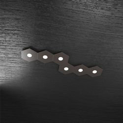 Plafoniera Top Light Hexagon Led Marrone 1142/6L MA A8
