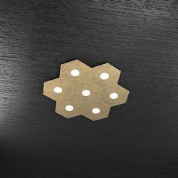 Plafoniera Top Light Hexagon Led Foglia Oro 1142/7L FO