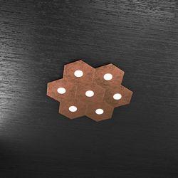 Plafoniera Top Light Hexagon Led Foglia Rame 1142/7L FR