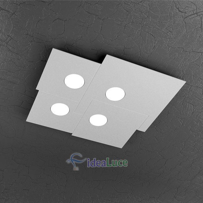 Plafoniera Top Light Plate Led Grigia PL4 1129/PL4 GR