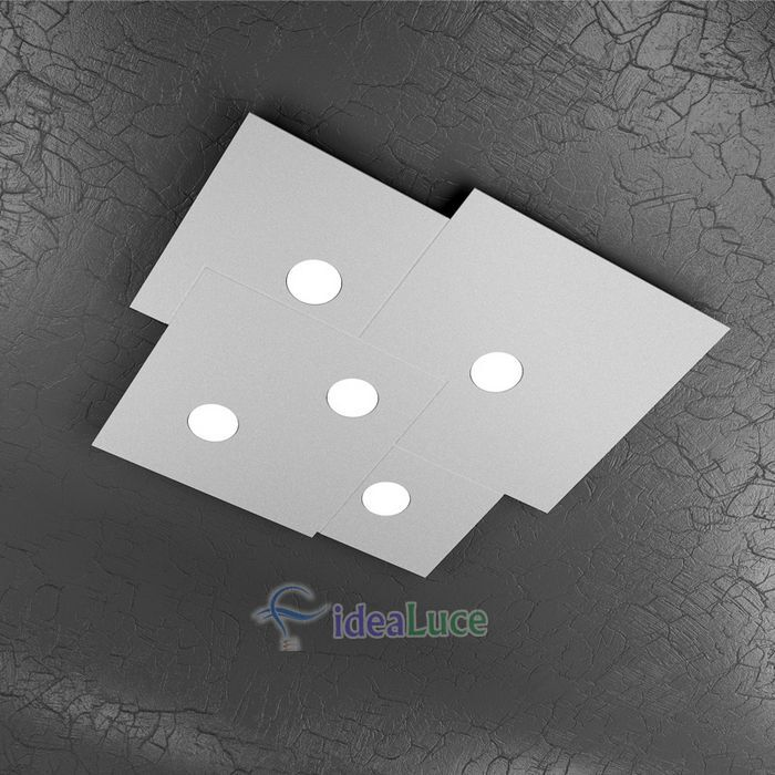 Plafoniera Top Light Plate Led Grigia 1129/PL5 GR