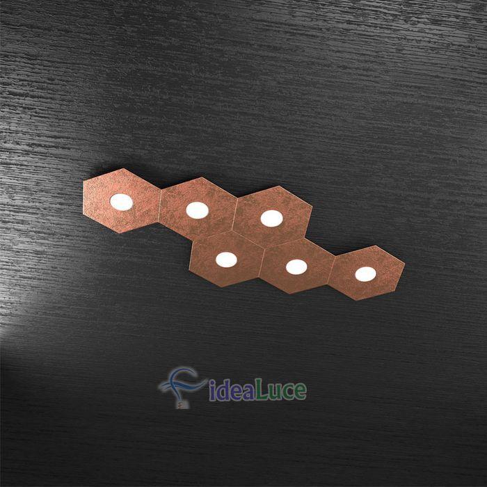 Plafoniera Top Light Hexagon Led Foglia Rame 1142/6L FR A5