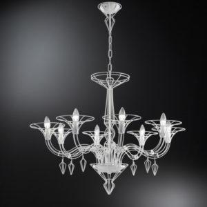 Sospensione a 8 luci Metal Lux Dedalo Bianco verniciato 192.188.03